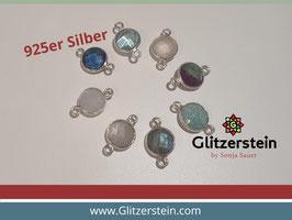 Schmuckverbinder Natursteine 925er Silber rund