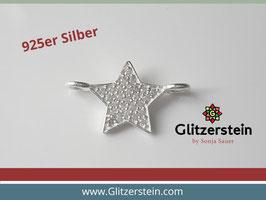 Schmuckverbinder Stern 925 Silber mit Zirkonia