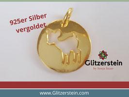 Anhänger Bambi 925 Silber vergoldet