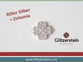 Schmuckverbinder Kleeblatt 925 Silber mit Zirkonia