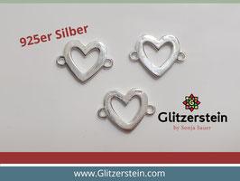 Schmuckverbinder Herz breiter Rand 925 Silber glänzend