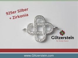 Schmuckverbinder Knoten mit Zirkonia 925 Silber