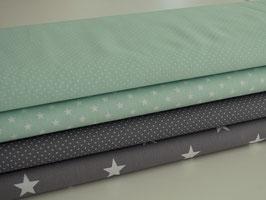 4er Stoffpaket mintgrün-grau Sterne & Punkte