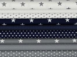 9er Stoffpaket Baumwolle grau-weiß dunkelblau grau Nr. 58