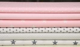 6er Stoffpaket Baumwolle hellrosa weiß-grau Nr. 26