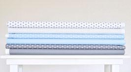 6er Stoffpaket grau hellblau weiß