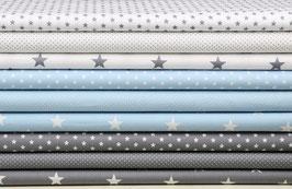 9er Stoffpaket Baumwolle grau hellblau weiß-grau Nr. 30