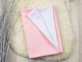 Babydecke Waffelpiqué rosa weiß
