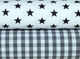 2er Stoffpaket Baumwolle weiß schwarz grau Nr. 112