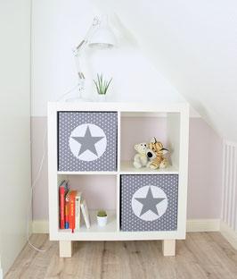 2er Set Box-Bezüge grau Sternchen, Kreis weiß, Stern grau