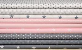 9er Stoffpaket Baumwolle grau hellrosa weiß-grau Nr. 28
