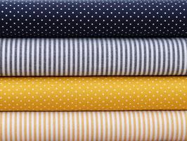 4er Stoffpaket Baumwolle dunkelblau gelb weiß Punkte Streifen Nr. 123