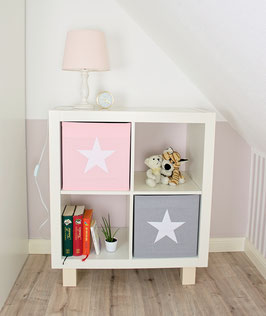 2er Set Box-Bezüge uni rosa & uni grau mit Stern