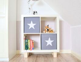 2er Set Box-Bezüge grau Punkte&Sterne