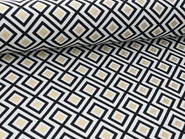 """Dekostoff """"geometrisches Muster schwarz weiß gold"""""""