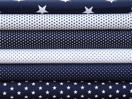 6er Stoffpaket Baumwolle dunkelblau weiß Punkte Sterne Nr. 117
