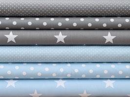6er Stoffpaket Baumwolle hellblau grau Punkte Sterne Nr. 115