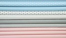 9er Stoffpaket grau hellblau weiß-grau rosa