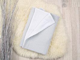 Babydecke Waffelpiqué grau weiß