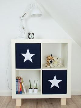 2er Set Box-Bezüge dunkelblau mit großem Stern