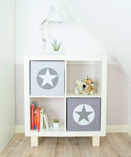 2er Set Box-Bezüge grau Streifen, Kreis grau, Stern weiß & grau Sternchen, Kreis weiß, Stern grau