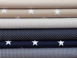 6er Stoffpaket Baumwolle dunkelblau beige weiß Punkte Sterne Nr. 119