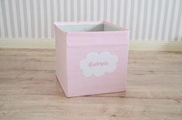 Box Bezug rosa Streifen Wolke mit Namen
