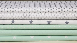 6er Stoffpaket Baumwolle mintgrün weiß-grau Nr. 24