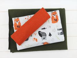 "Stoffpaket 116 Bekleidung ""French Terry Fuchs Elch Eule grün orange"""