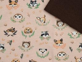 """Stoffpaket 142 Bekleidung """"Waldtiere apricot braun"""" Jersey & Bündchen"""