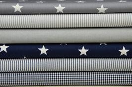 6er Stoffpaket Baumwolle dunkelblau-grau Nr. 45