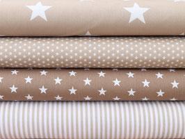4er Stoffpaket Baumwolle beige Sterne Nr. 120