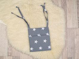 Betttasche für Puppenbett grau Sterne
