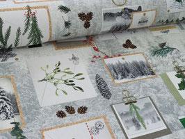 Weihnachtsstoff grau weiß Winter Wunderland