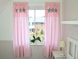 Vorhänge rosa Streifen+Vichy ca. 135cmx165cm