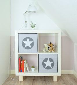 2er Set Box-Bezüge grau Streifen, Kreis grau, Stern weiß