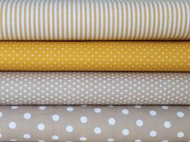 4er Stoffpaket Baumwolle gelb beige Nr. 83