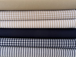 6er Stoffpaket Baumwolle dunkelblau beige/sand Nr. 66