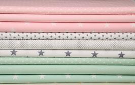 9er Stoffpaket Baumwolle hellrosa mintgrün weiß-grau Nr. 25