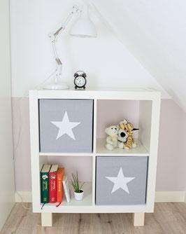 2er Set Box-Bezüge uni hellgrau mit Stern