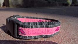 """Halsband mit Borde """"schmetterling pink"""""""