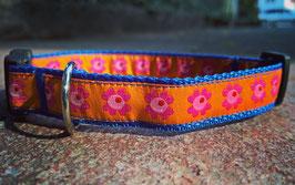 """Halsband mit Borde """"orange Flower"""""""