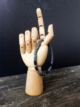 Surfer-Armband mit Morsebuchstaben deiner Wahl (blaugrau-schwarz)