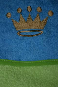 KAPUZENBADETUCH 80 CM  X  80 CM hellgrün mit türkis Kapuze, mit Krone bestickt