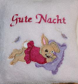 DINKELKISSEN KLEIN rosa mit Gute Nacht Häsli