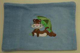 KIRSCHKERNKISSEN GROSS hellblau mit Katze mit Schirm