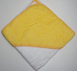 KAPUZENBADETUCH 80 X 80 CM weiss mit Kapuze gelb,  Motiv wählbar
