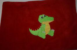 DINKELKISSEN GROSS  rot mit Krokodil