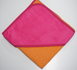 KAPUZENBADETUC100 X 100 CM orange mit Kapuze pink,  Motiv wählbar