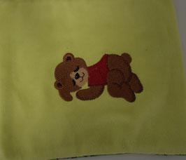 TRAUBENKERNKISSEN KLEIN hellgrün mit schlafendem Bärli